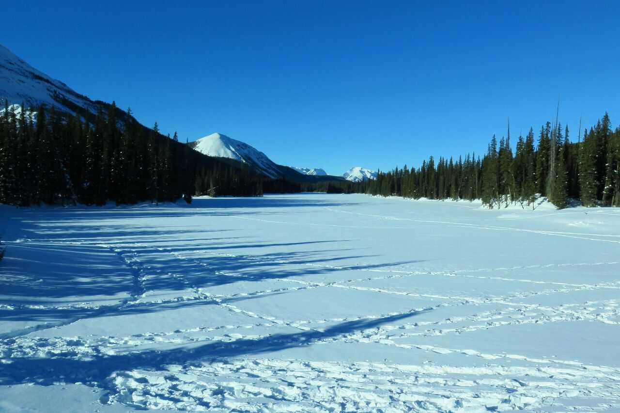 three mountain family hikes, take a hike with your children, kananaskis, Hogarth Lakes Snowshoe