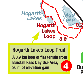 map of Hogarth Lake snowshoe trail from Alberta Parks