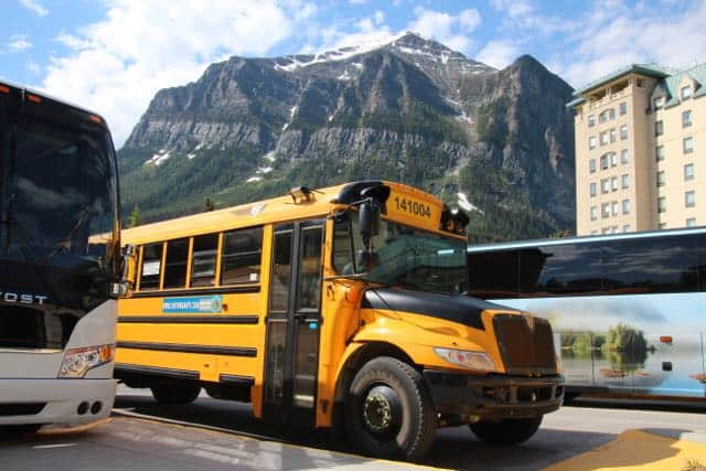 Hop On Banff conveniently delivers and picks you up at the Chateau Lake Louise - Family Transportation Banff
