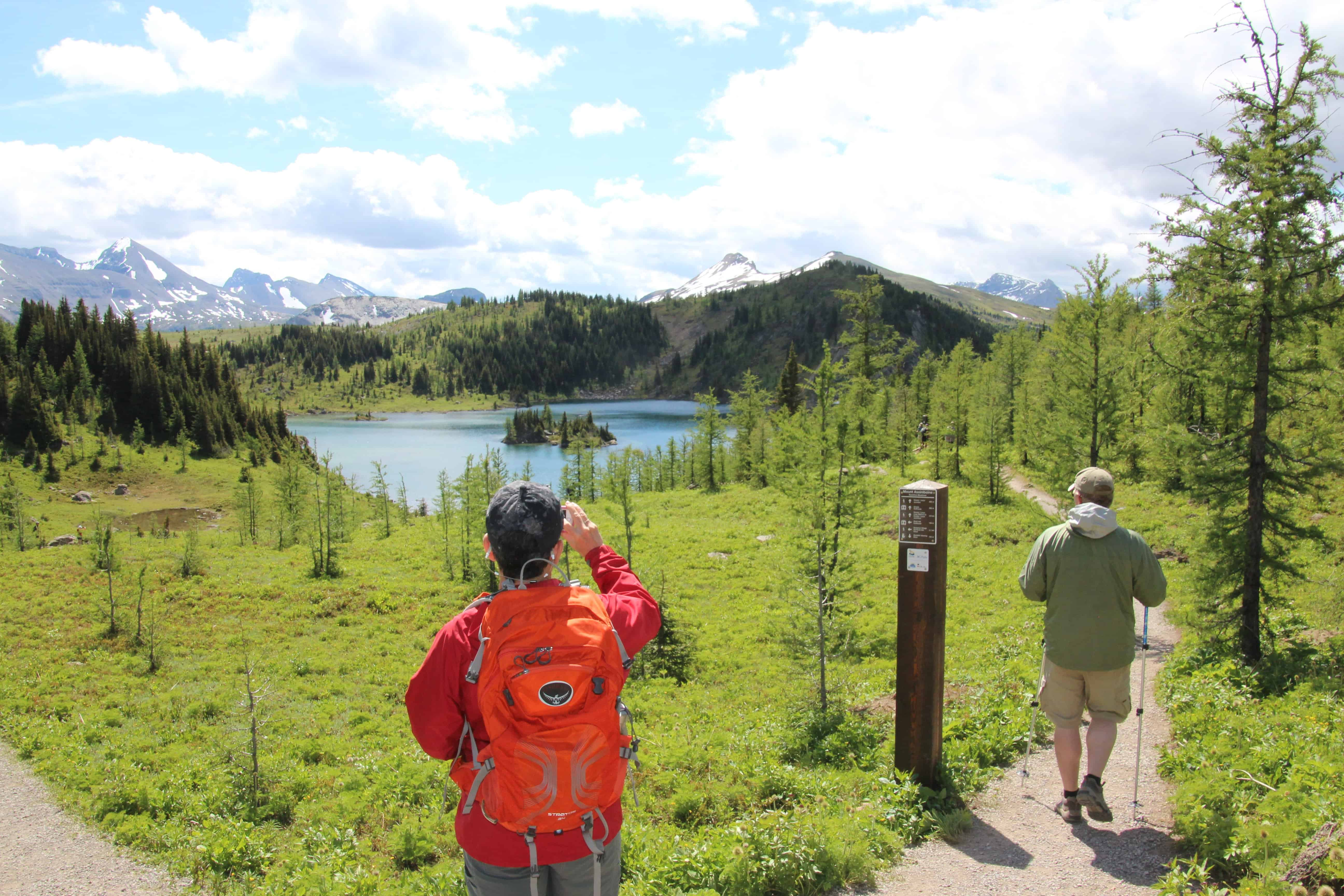 lady taking a picture at sunshine meadows, Banff National Park