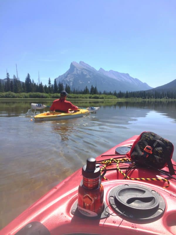 two people kayaking on Vermillion Lakes, Banff National Park