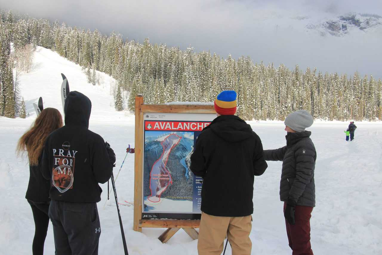 a group of people reading an avalanche warning sign