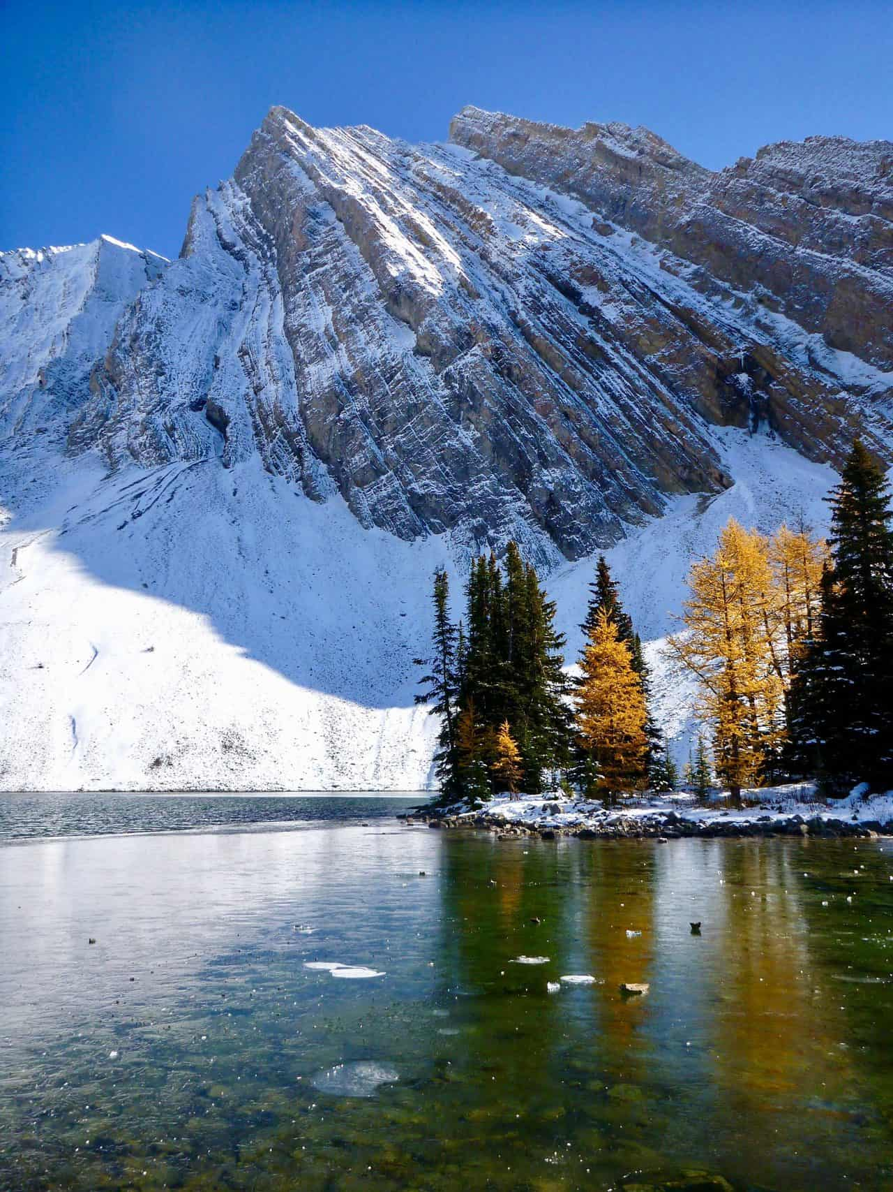 Stunning mountain views and golden larches at Chester Lake in Kananaskis