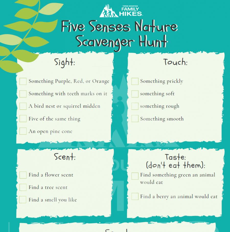 Five Senses Nature Scavenger Hunt